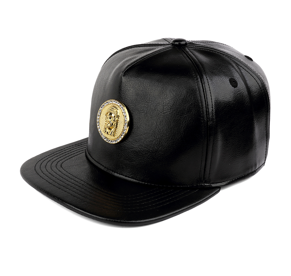 a0d59e5f3e7ff NYUK Crystal Rhinestone Gold Christ Jesus Baseball Cap Black Leather  Adjustable Mens Casual Unisex Snapback Hat Cool Boy Hip Hop .