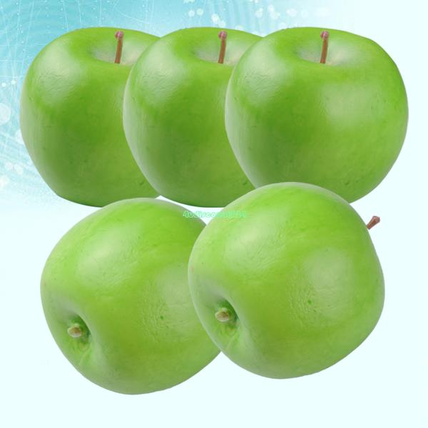 artificial 5pcs/lot green apples plastic decorative fruit apples fake home decor EQA846artificial fruits fruit ficus(China (Mainland))