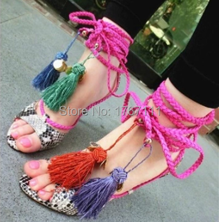 2015 newest fringe shoes women summer sandals sexy open toe high heels snakeskin sandals lace-up colorful women sandals tassel<br><br>Aliexpress