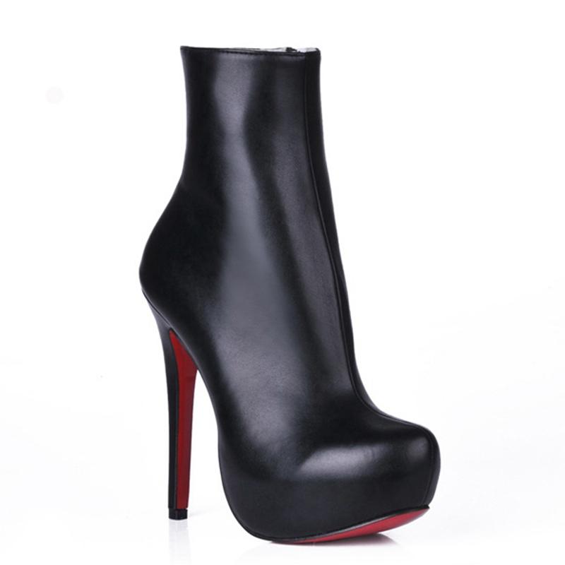 2015 Winter Women Boots High Heel 14 CM Super High Thin Heel Sexy Platform Ankle Boots Red Bottom Round Toe Brand Boots DR127<br><br>Aliexpress