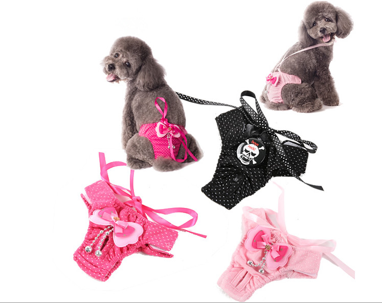 Free shipping Red puppy pet dog female little physiological pants clothes pants underwear strap anti-harassment hygiene pants
