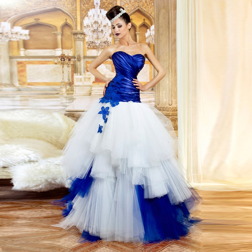 Popular Royal White and Blue Wedding Strapless Gown-Buy Cheap ...