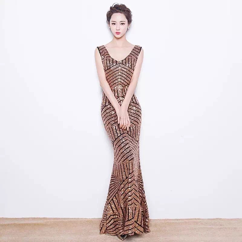 2016 Elegant Gold Silver Sequin Long Evening Dresses mother of the bride festa dresses Formal Gowns Prom Dresses soiree GT53(China (Mainland))