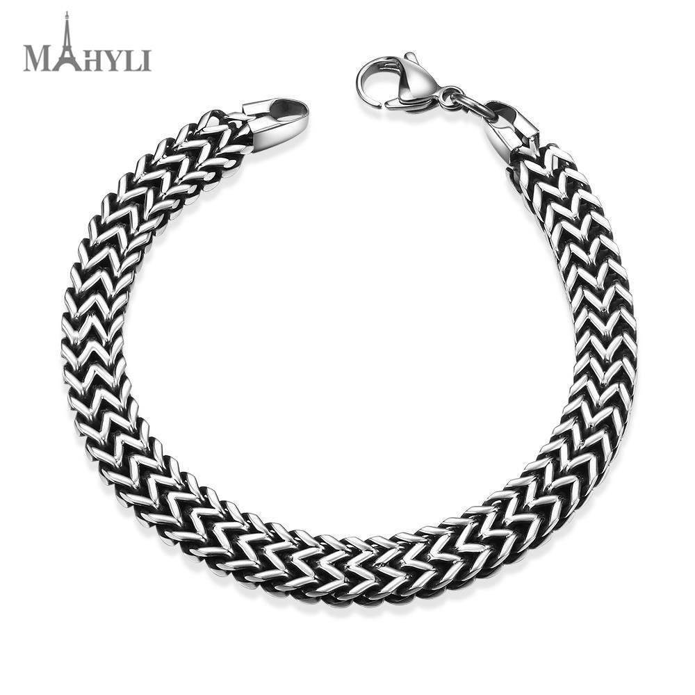 MAHYLI fashion Men cuff Black Bracelet Bangle Health Chain Men Charm Jewelry Stainless Steel Bracelet For Men(China (Mainland))