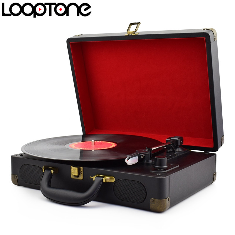 LoopTone Vintage 33/45/78 RPM Portable Suitcase Turntable Vinyl LP Record Player Phono Players Aux-in Line-out AC110~240V Black(China (Mainland))