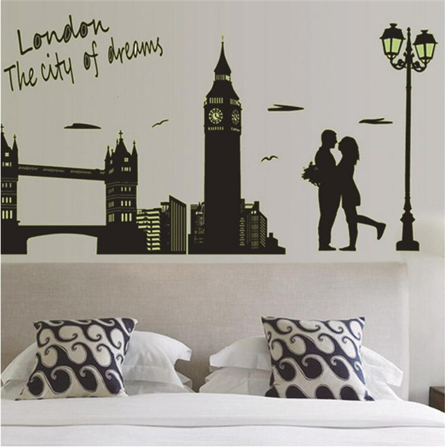 The new living room backdrop bedroom Wall Sticker / PVC London fluorescent stickers / luminous paste / Home Supplies(China (Mainland))
