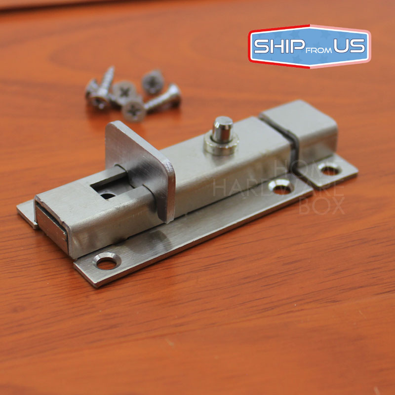 "One pc Spring Loaded Door Latch Stainless Steel Slide Bolt Security Gate Lock 3""(China (Mainland))"