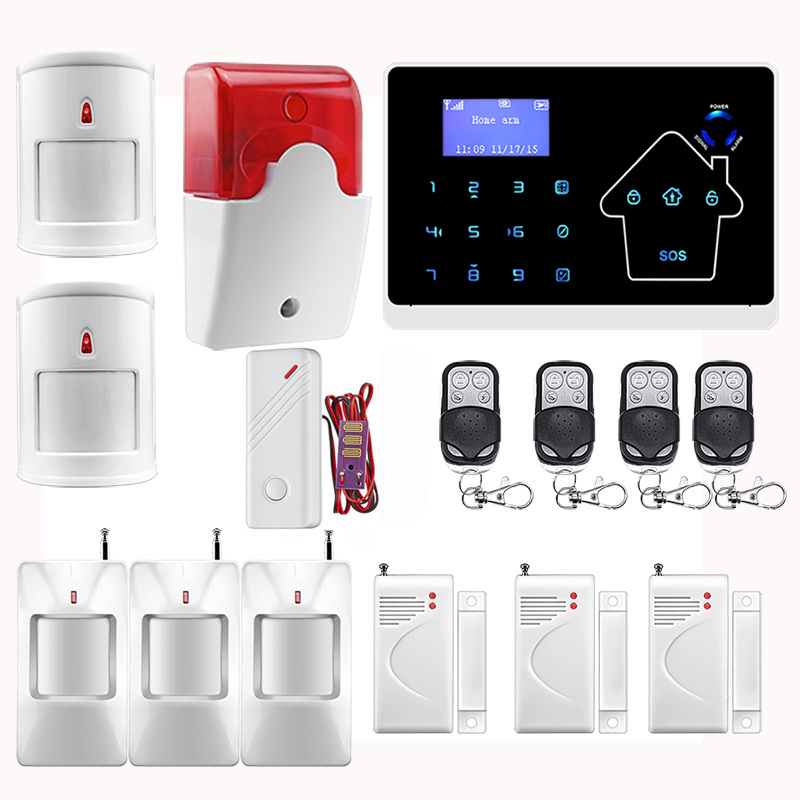 2016 Wireless GSM SMS TEXT PSTN Telephone Landline Home House Alarm System Touch Keypad Pet Friendly PIR Wired Flash Siren(China (Mainland))