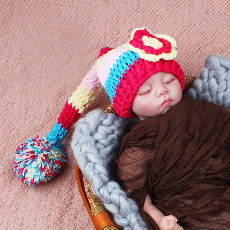 Handmade Knitted Rainbow Flower Baby Beanies Girls Long Tail Pixie Hat Newborn Photography Props 0 -3M(China (Mainland))