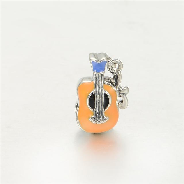 Серебро 925 изящные Jewerly эмаль скрипка бусины DIY стерлингов - серебристо-ювелирные подходит европейским очаровывает браслеты