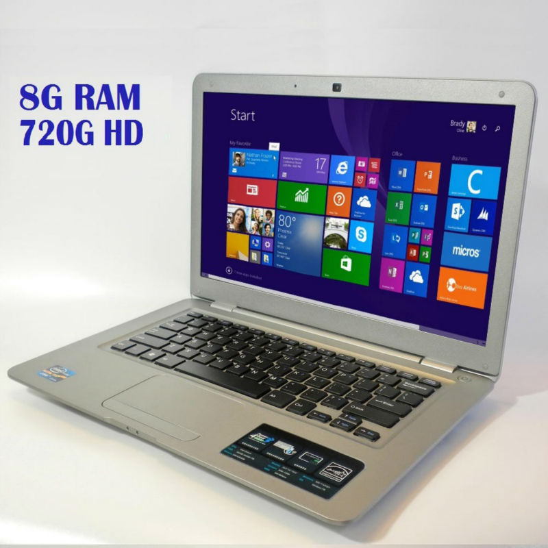 "14"" notebook 8GB RAM 720GB HDD computer fast cpu intel laptop WIFI Windows 10/7 office AZERTY German Russian Spanish Keyboard(China (Mainland))"