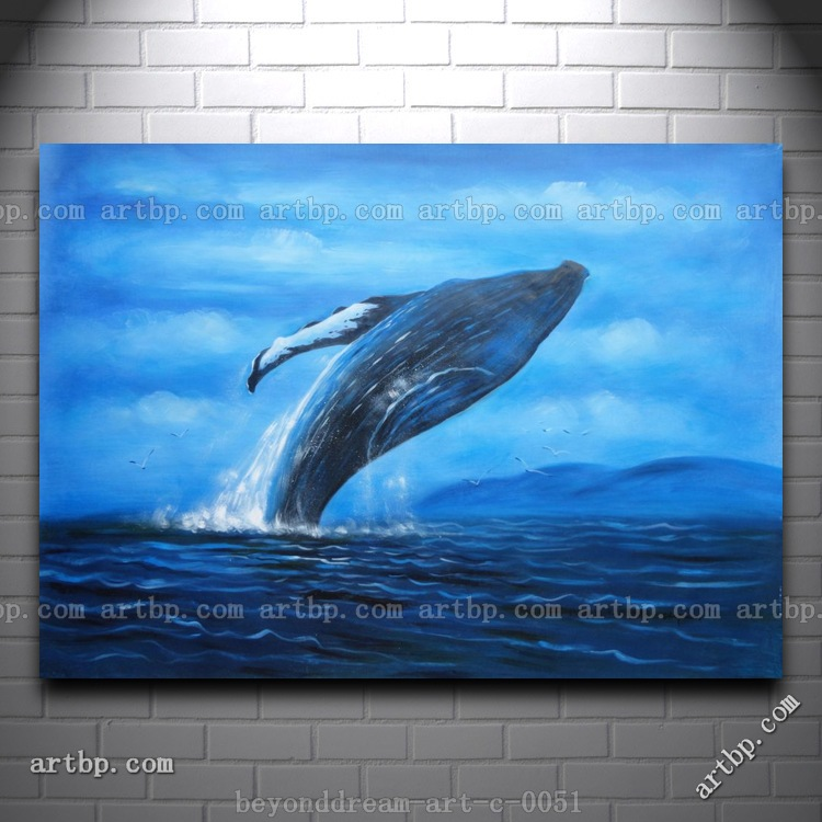 Whale Jumping Out Of The Water Oil Painting Naturalism Animal Marine Life Canvas Decoration Pictures On The Wall Monroe F(China (Mainland))