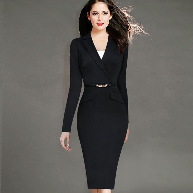 Бесплатная доставка 2015 женщин осень зима с длинным рукавом вниз носить на работу ...