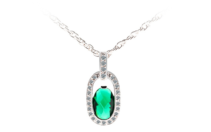 Women's AAA+Zircon Emerald Crystal Pendant Necklace Luxury CZ Diamond Women Brand Jewelry Gold Plated Necklace Collars Mujer Hot(China (Mainland))