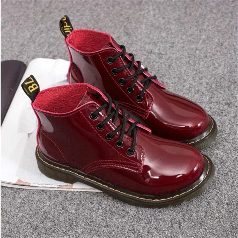 2015 Medium Heels Women Ankle Boots Thick Heels Skid-proof Sole Lace Up Martin Boots Spring Fall Shoes Sole Rubber Leather boots<br><br>Aliexpress