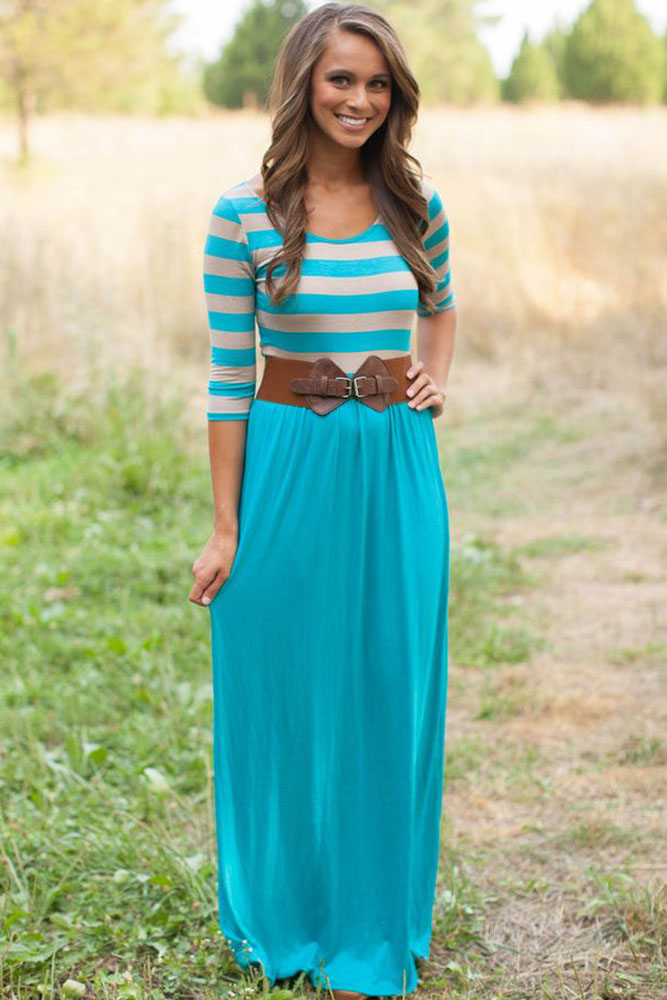 New Women Dresses 2015 High Quality Striped Print And Light Blue/Navy Jersey Maxi DressLC60585 Fashion Long Midi Dress(China (Mainland))