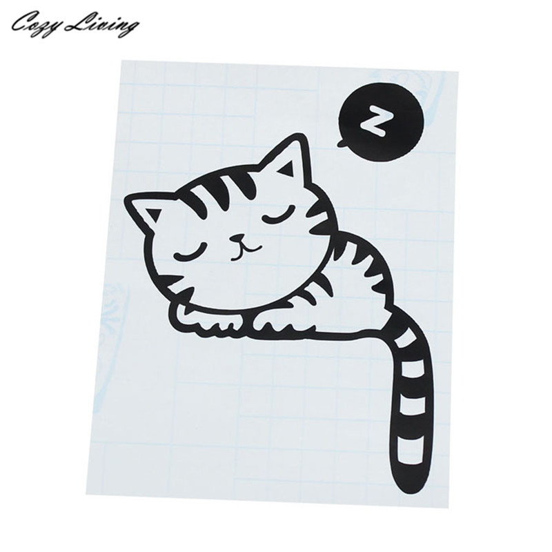 Switch Panel Stickers 1 PC Room Window Wall Decor Switch Vinyl Decal Sticker Decor Cartoon Sleepy Cat Switch Wallpaper D24