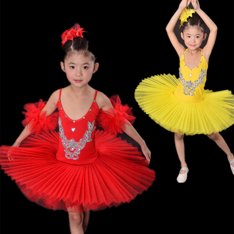 Children Yellow/White/Blue/Rose/Red Black Swan Costume Kids Ballet Dance Costume Stage Professional Ballet Tutu Dress For Girl(China (Mainland))