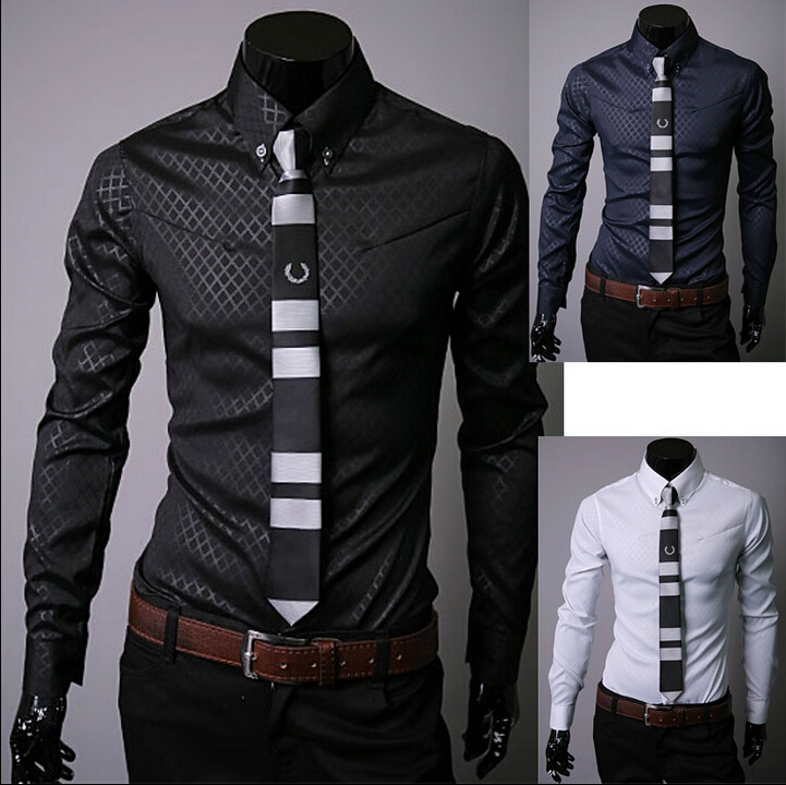 FREE SHIPPING! South Korea imported fabrics exclusive men's long-sleeved shirt Obscure Lingge 5912(China (Mainland))