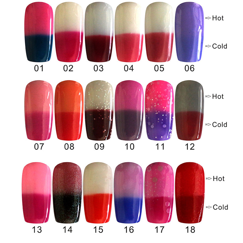 Beauty Health Fashionable 18 Colors Nail Polish Nail Art Tools 10ml Bright Colorful Temperature Change Free Shipping(China (Mainland))
