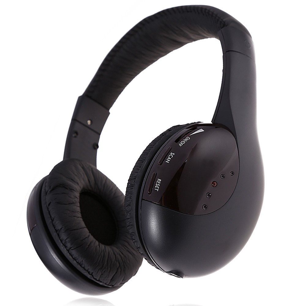High Quality 5 in 1 Hi-Fi Wireless Headphone with Microphone Emitter for FM Radio MP3 Chat Online Monitor(China (Mainland))