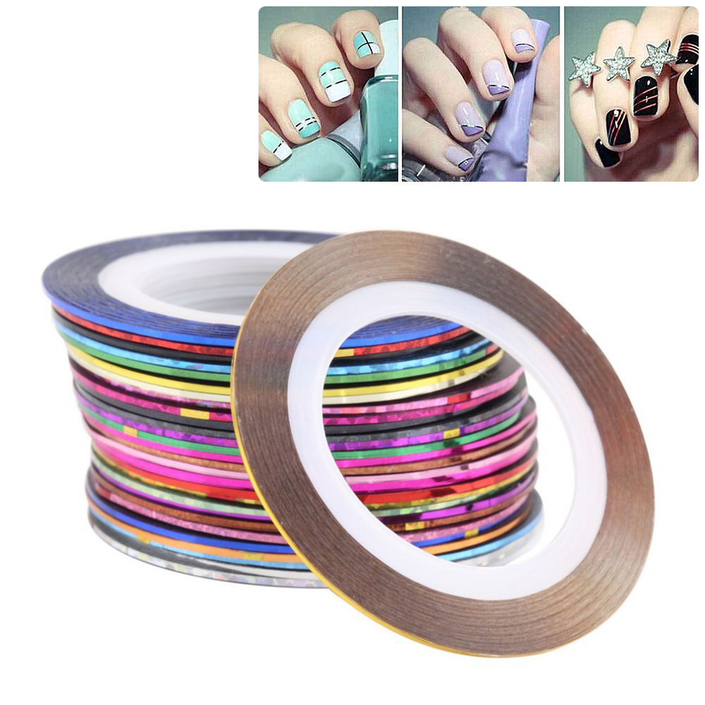 10Pcs/lot Colorful Rolls Striping Tape Nail Art Sticker Glittering Line Tips Set Decoration DIY Sticker EQE390(China (Mainland))