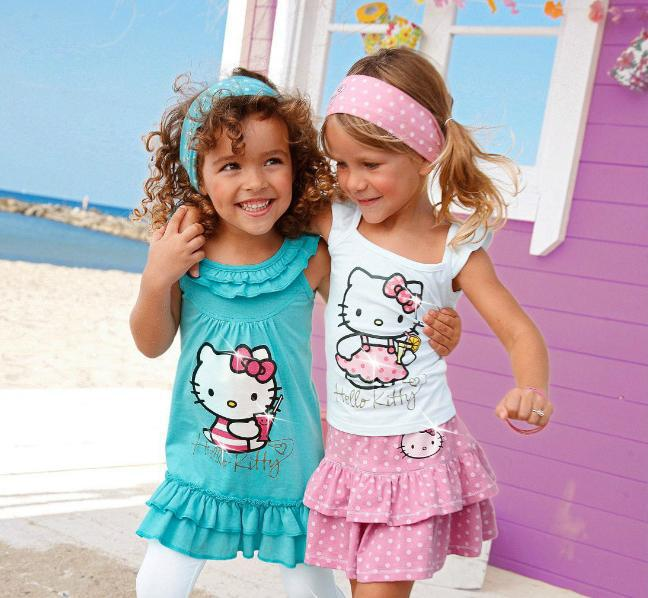 5sets/lot 2013 new summer cotton kitty baby girl suits kids sets headband+dress+pants children clothing 3pcs set(China (Mainland))