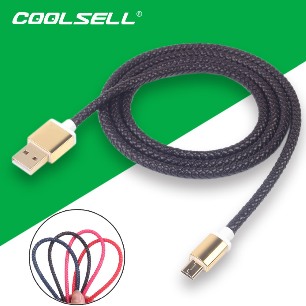 COOLSELL100cm Leather Braid Micro USB Cable High-Speed Charging & Data Sync Cord for Samsung S6 S7 HTC LG Black Red(China (Mainland))