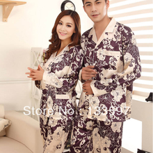 Women Men Winter Rayon Silk Fleece Sleepwear Pajama Set Couples Robes Nightwear(China (Mainland))