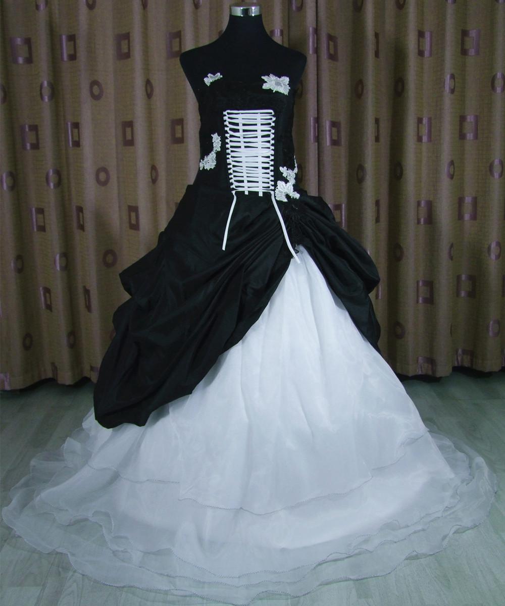 Black Wedding Dress Custom : New super elegant black and white hit color wedding