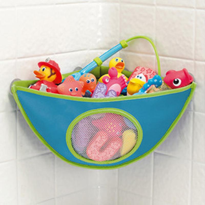 38*29*18cm High Quality Folding Baby Bathroom Mesh Bag Child Bath Toy Storage Bag Net Suction Cup Baskets(China (Mainland))