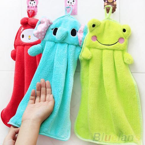 Nursery Hand Towel Soft Plush Fabric Cartoon Animal Hanging Wipe Bathing Towel 2KQT(China (Mainland))
