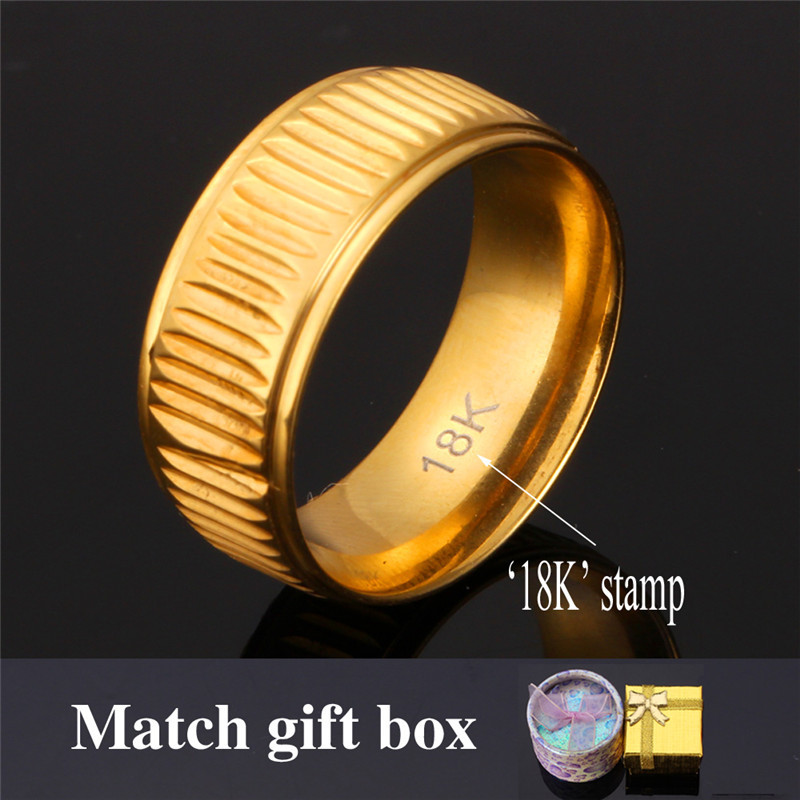 Weddings Bands Rings Men Jewelry '18K' Stamp 2015 New Vintage Jewelry With Gift Box Trendy 18K Real Gold Plated Gold Ring R150(China (Mainland))