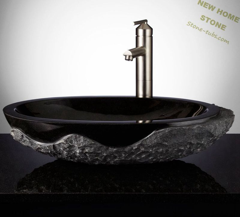Black granite sinks rough outside and polished inside oval for Bathroom designs vessel sinks