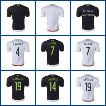mexico 2015 copa america 15 16 White Black Mexico soccer jerseys Mexico national team football soccer shirts high qualtiy(China (Mainland))