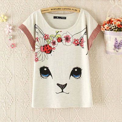2016 summer japanese style kitty cat printed lovely cute for Cute japanese t shirts