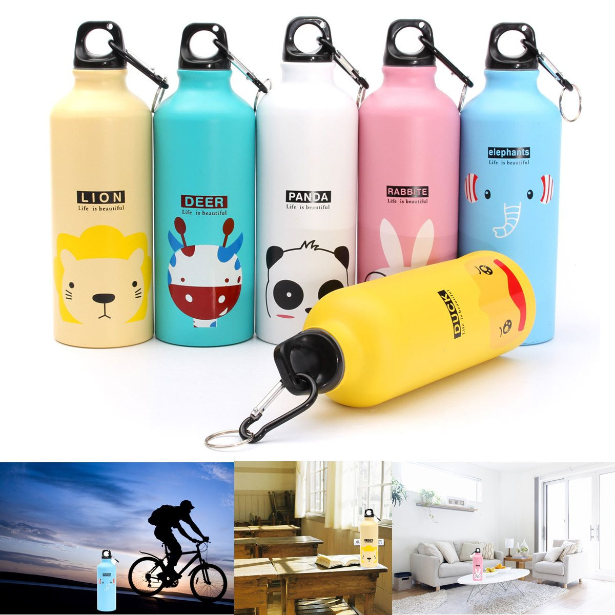 Top Quality 500ml Lovely Animals Outdoor Portable Sports Cycling Camping Bicycle Aluminum Alloy School kids Water Bottle(China (Mainland))