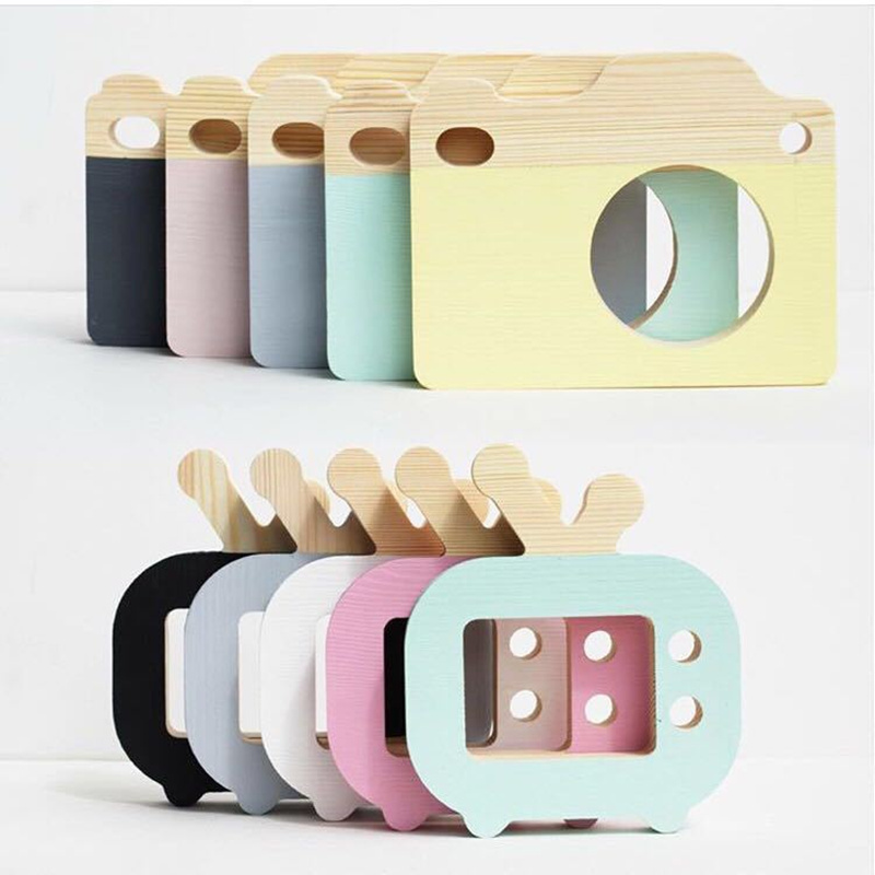 Baby Kids Cute Wooden Camera Toys Children Bedroom Fashion Accessory Safe And Natural Toys Birthday Gifts