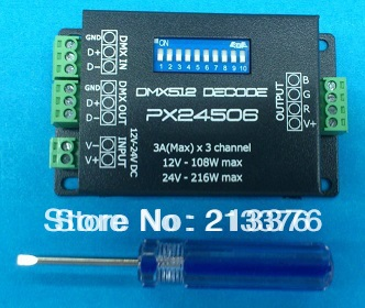 DMX512 decoder in RGB controller, LED driver Constant Voltage, led dmx rgb dimmer,PX24506,Free shiping(China (Mainland))