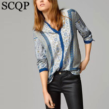 Discount Sale Women Blouses Vintage Print Cotton Autumn Blusas Femininas O Neck Long Sleeve Woman Shirts Casual Loose Tops 8123(China (Mainland))
