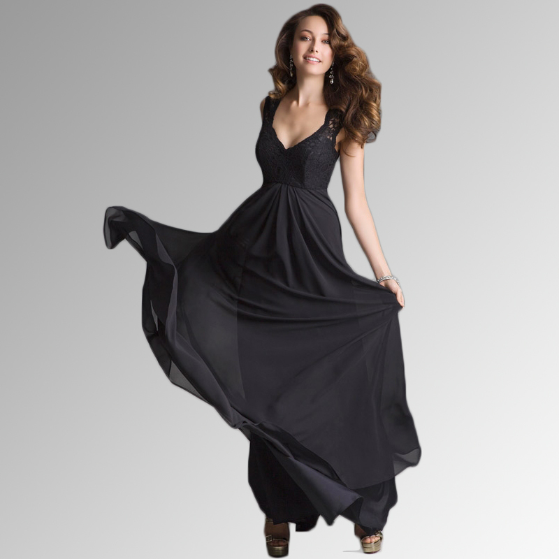 Black Bridesmaid Dresses With Cap Sleeves : Custom made floor length cheap black bridesmaid dresses