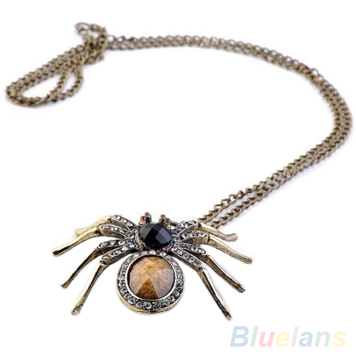 Vintage Crystal Resin Spider Bead Necklace Dangle Charm Pendant Long Chain 2JW1(China (Mainland))