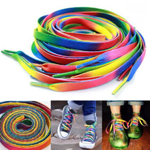 1 pair 47inch Rainbow Multi-Colors Flat Sports Shoe Laces Shoelaces Strings Strap for Sneakers Unisex rainbow shoelace(China (Mainland))