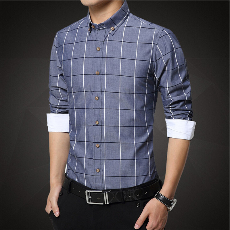 Plus size shirts new 2016 spring casual men shirt cotton for Plus size men shirts