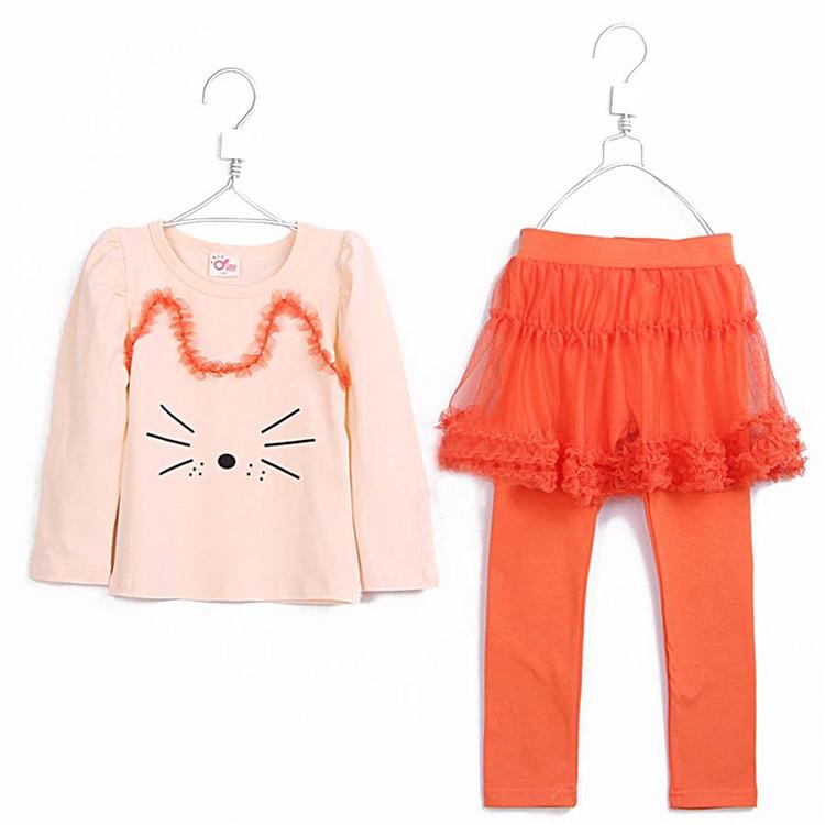 2015 spring and autumn kids clothing sets cat girls clothing baby child long-sleeve T-shirt gauze culottes set A1221(China (Mainland))