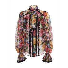 Twotwinstyle camisas femininas blusa bowknot alargamento manga longa retalhos de renda impressão topos feminino elegante moda 2019 primavera novo(China)