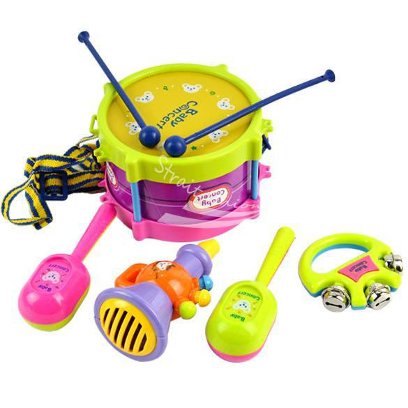 New 5pcs Roll Drum Musical Instruments Band Kit Kids Children Toy Gift Set free shipping(China (Mainland))