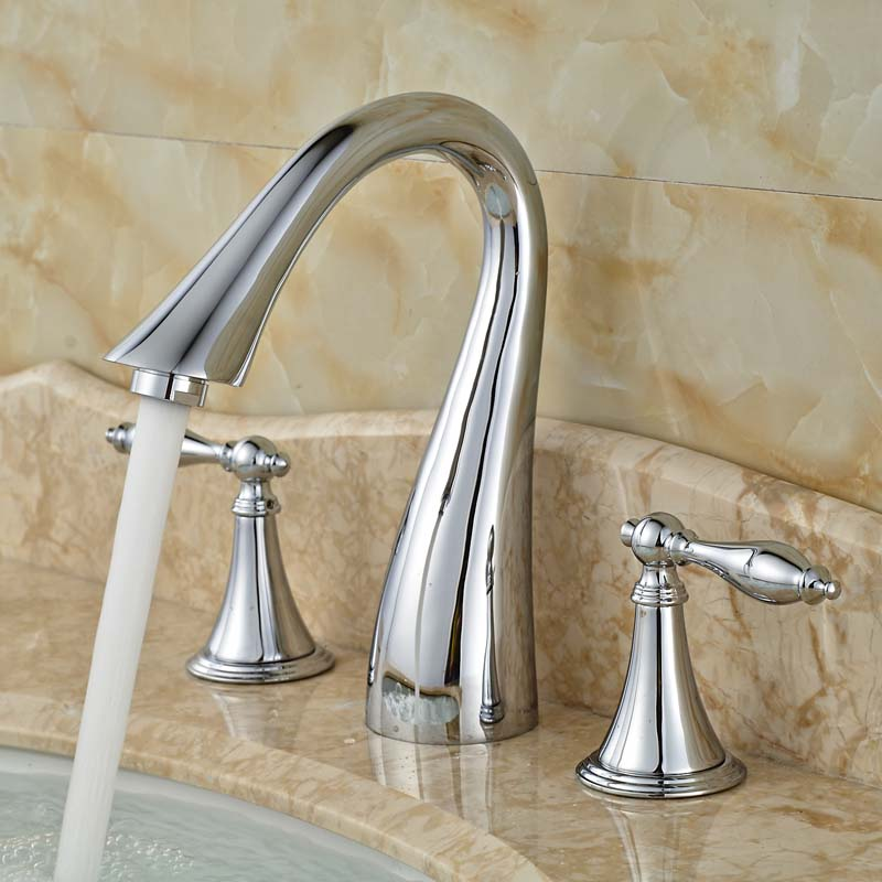 Фотография 2016 Newest Swan Shaped Wash Basin Taps Three Holes Brass Countertop Vessel Faucet Chrome Finish