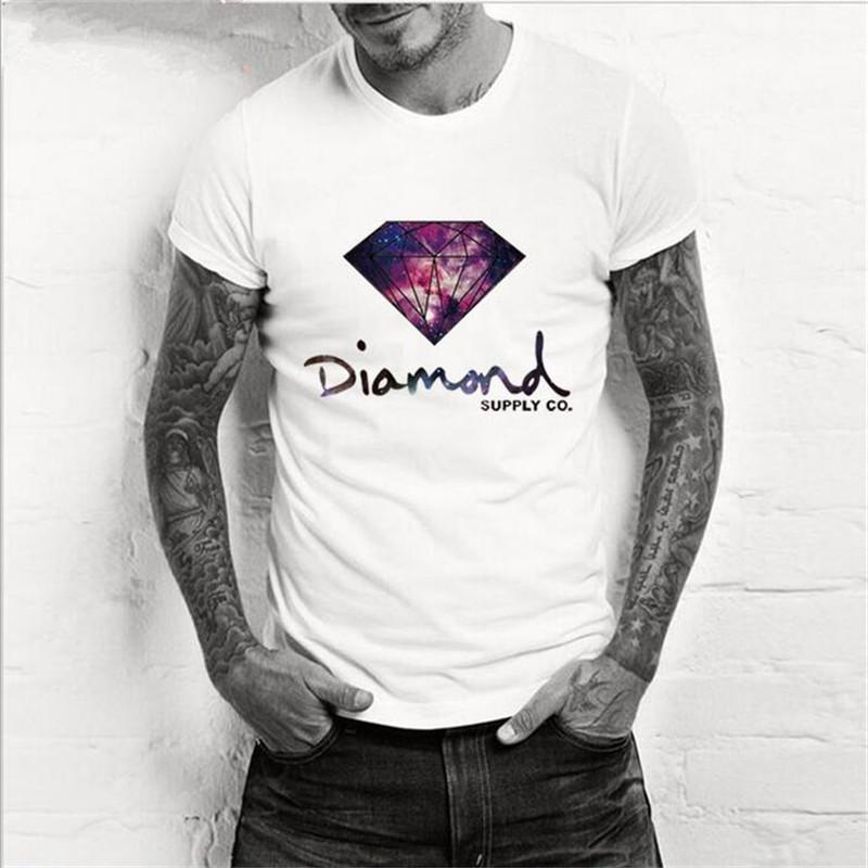 Fashion Cotton EU size man male diamond supply print T Shirts T-Shirt Tops short underwear Casual sport hiphop tee top(China (Mainland))