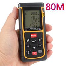 Gama láser infrarrojo buscador cinta de medición electrónica regla de mano cuarto de contadores de 80 m tester distancia volumen área de herramientas de ángulo